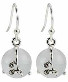 White Gemstone Silver Dangle Earrings