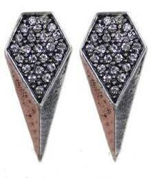 White Crystal Silver Cone Stud Earrings