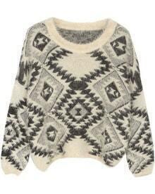Beige Long Sleeve Geometric Print Pullovers Sweater