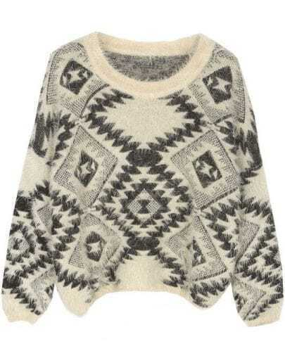 Beige Long Sleeve Geometric Print Pullovers Sweater