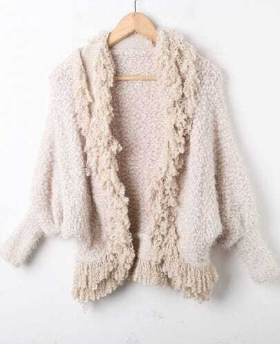 Beige Batwing Long Sleeve Tassel Plush Cardigan Sweater