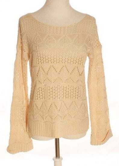 Apricot Long Sleeve Hollow Pullovers Sweater