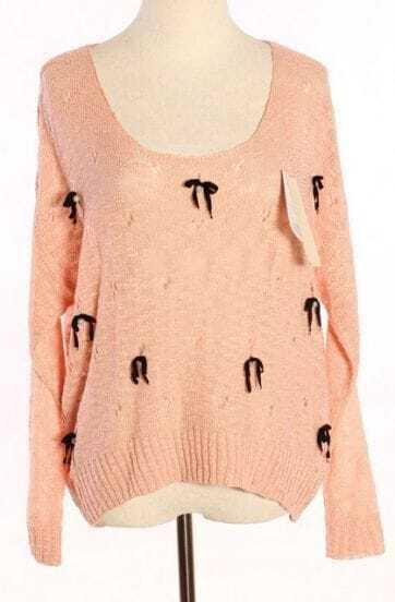 Pink Long Sleeve Hollow Bow Pearls Sweater