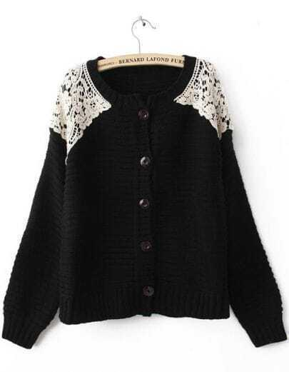 Black Long Sleeve Shoulder Lace Cardigan Sweater