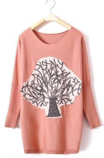 Pink Long Sleeve Tree Print Pullovers Sweater