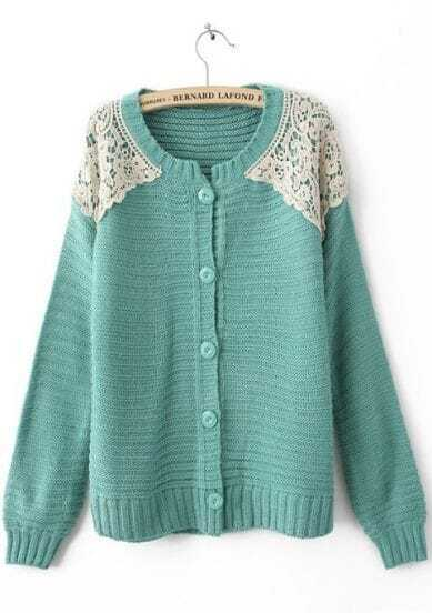 Blue Long Sleeve Shoulder Lace Cardigan Sweater
