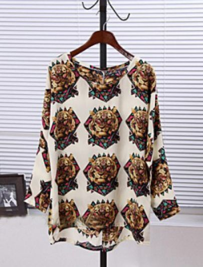 Apricot Long Sleeve Tiger Print Loose Blouse