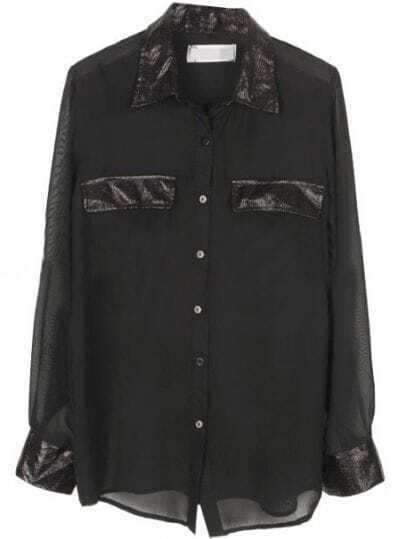 Black Contrast PU Lapel Long Sleeve Sheer Chiffon Blouse