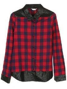 Red Black Plaid Long Sleeve Contrast Leather Blouse