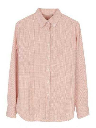 Pink Lapel Long Sleeve Houndstooth Buttons Blouse