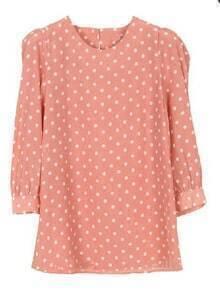 Pink Puff Sleeve Polka Dot Zipper Blouse