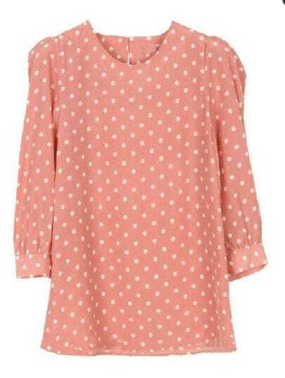 Pink Puff Sleeve Polka Dot Zipper Blouse
