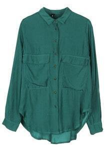 Green Lapel Long Sleeve Copper Buttons Pockets Blouse