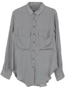 Grey Lapel Long Sleeve Copper Buttons Pockets Blouse