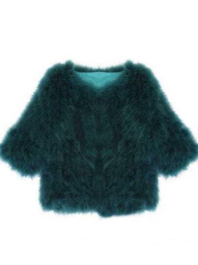 Green Half Sleeve Cardigan Crop Fur Coat