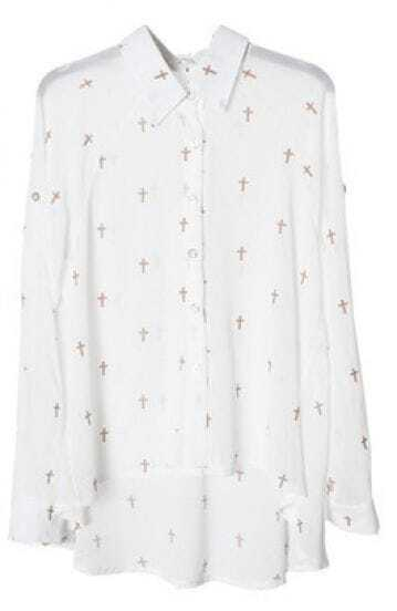 White Lapel Long Sleeve Cross Print Chiffon Shirt