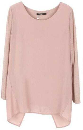Pink Round Neck Long Sleeve Back Split Blouse