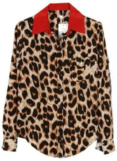 Leopard Red Lapel Long Sleeve Buttons Blouse