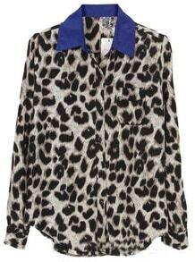 Leopard Bule Lapel Long Sleeve Buttons Blouse