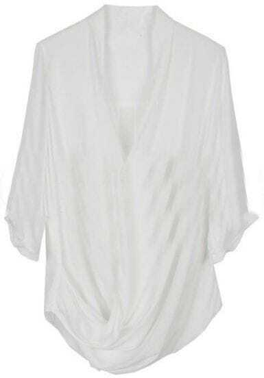 White V Neck Asymmetrical Buttons Blouse