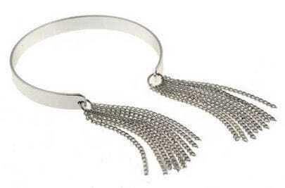 Silver Chain Tassel Cuff Bracelet