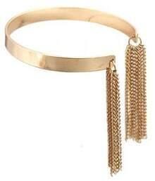 Gold Chain Tassel Cuff Bracelet