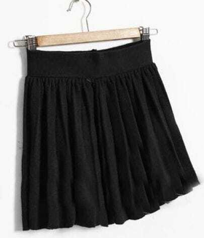 Black Elasic Waist Pleated Skirt