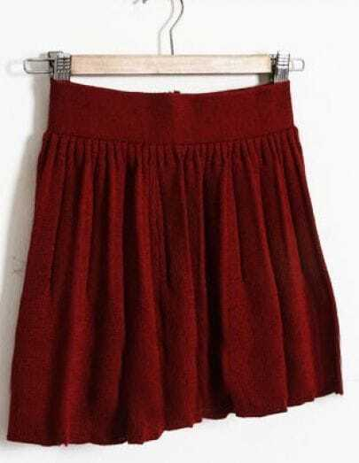 Wine Red Elasic Waist Pleated Skirt
