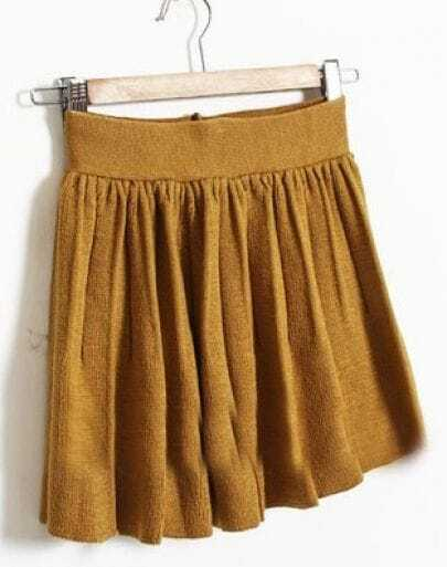 Yellow Elasic Waist Pleated Skirt