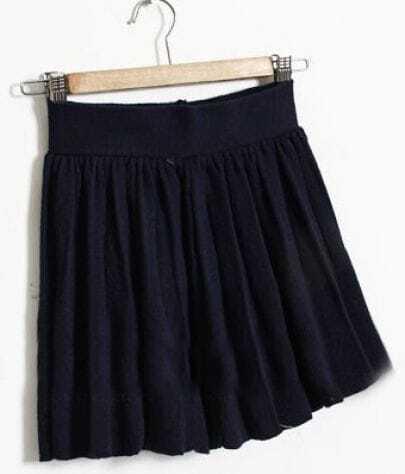 Navy Elasic Waist Pleated Skirt