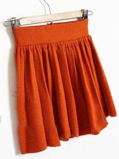 Orange Elasic Waist Pleated Skirt