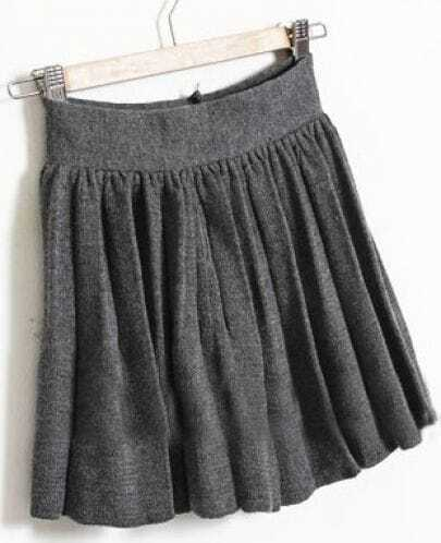 Grey Elasic Waist Pleated Skirt
