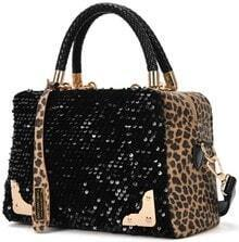 Black Sequined Leopard Tote Bag