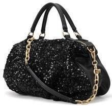 Black Sequined Chain Tote Bag