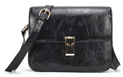 Black Zipper Magnetic PU Satchels