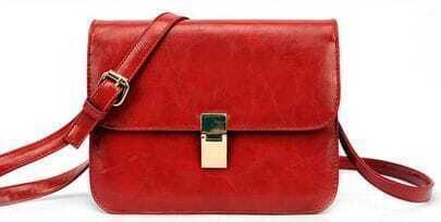 Rose Red Zipper Magnetic PU Satchels