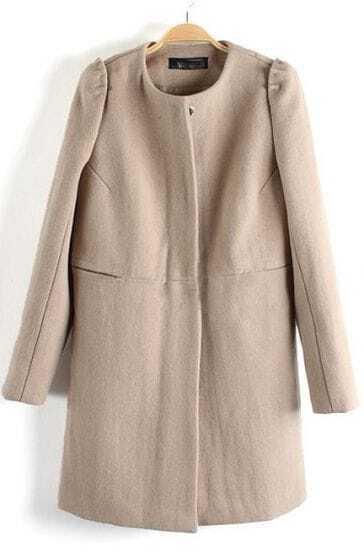 Beige Long Sleeve Single Breasted Woolen Coat