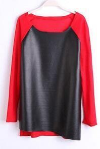 Red Long Sleeve Contrast PU Leather T-Shirt