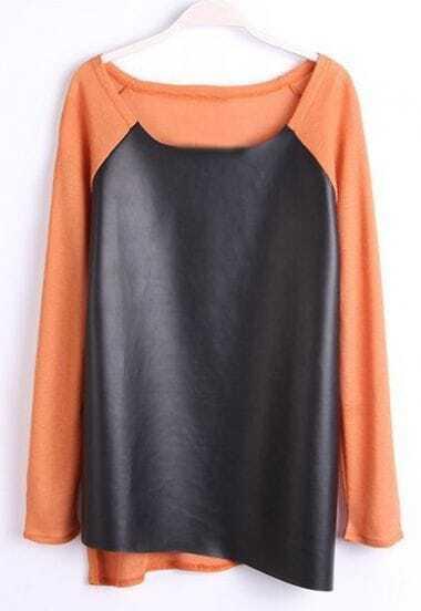 Orange Long Sleeve Contrast PU Leather T-Shirt