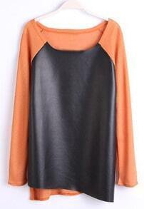 Orange Long Sleeve Contrast PU Leather T-Shirt