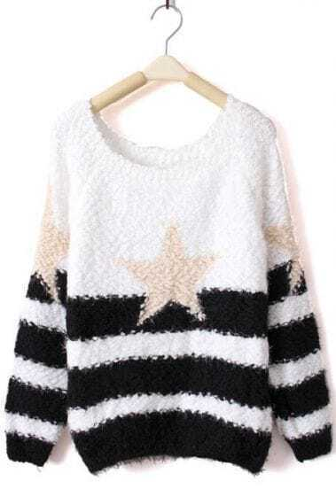 Black White Striped Star Print Pullovers Sweater