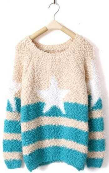 Blue White Striped Star Print Pullovers Sweater