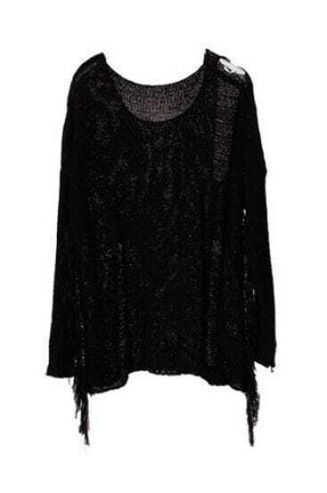 Black Long Sleeve Tassel Ripped Pullovers Sweater