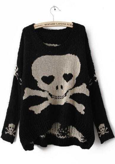 Black Long Sleeve Skull Print Pullovers Sweater