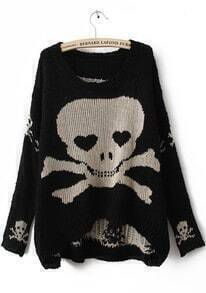 Black Long Sleeve Skull Print Pullovers Sweater