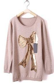 Light Khaki Long Sleeve Bow Print Sequined Sweater