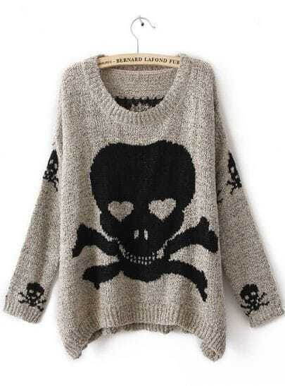 Grey Long Sleeve Skull Print Pullovers Sweater