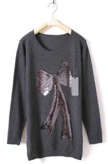 Dark Grey Long Sleeve Bow Print Sequined Sweater