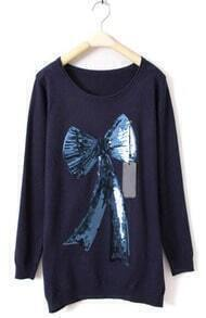 Navy Long Sleeve Bow Print Sequined Sweater
