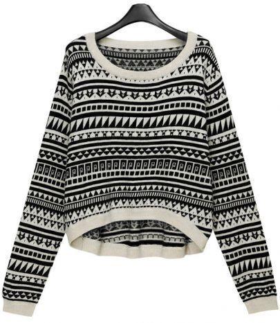 Black Long Sleeve Striped Geometric Asymmetrical Sweater